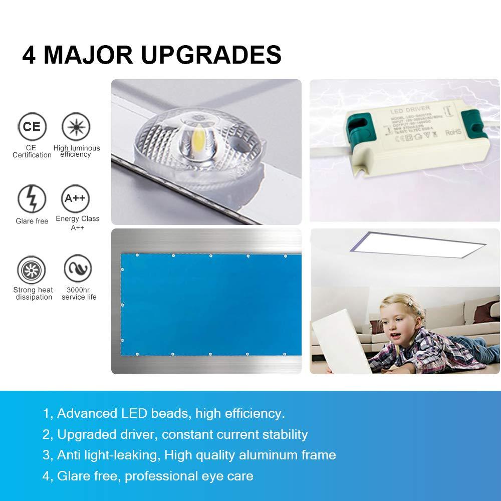 iluminacion led Blanco Frio 6500K Adecuado para oficinas Clase de eficiencia energ/ética A++ etc. salones balcones y pasillos ba/ños dormitorios Natur panel led Slim 120x30cm 50W 6000lm