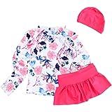 Ymgot 子供 水着 女の子 セパレート キッズ 水着 ラッシュガード 花柄 帽子付き 3点セット