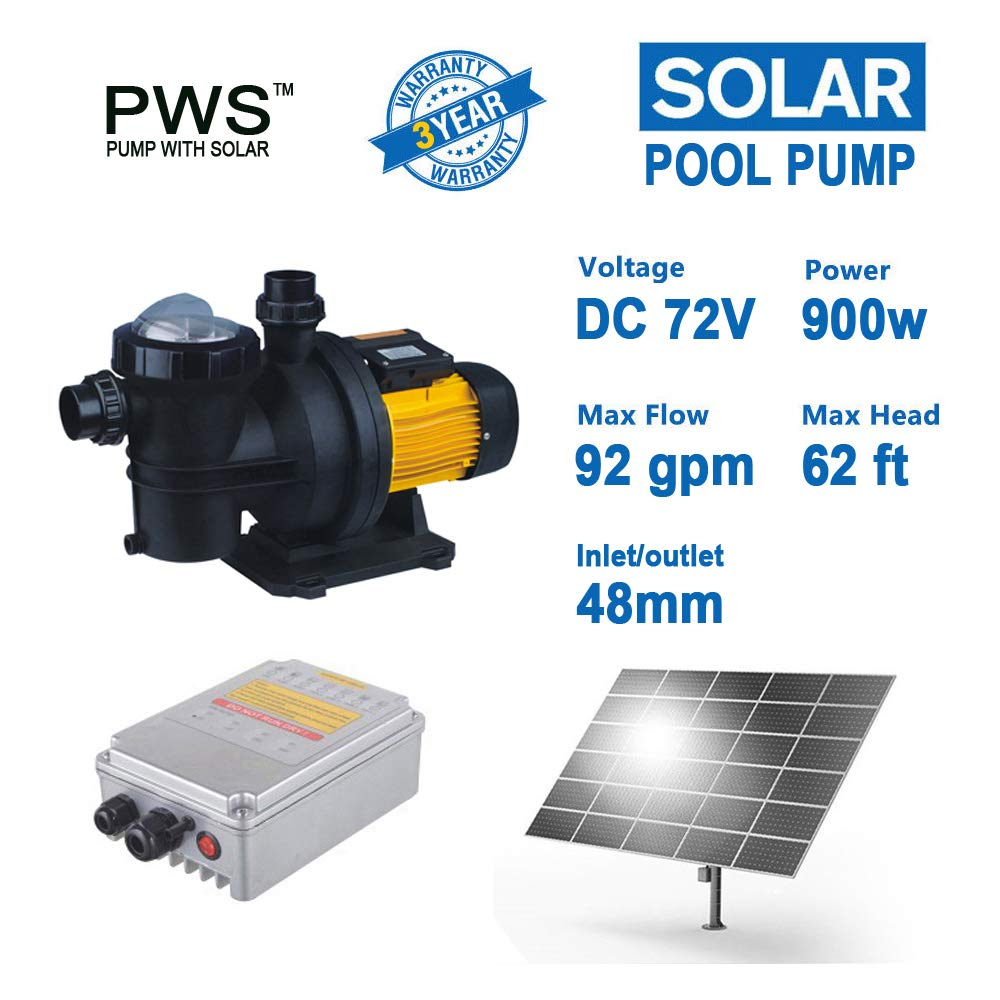 PWS 72V 1.2HP Solar Powered Swimming Pool Pump,Suitable for Salt Water, JP21-19/900