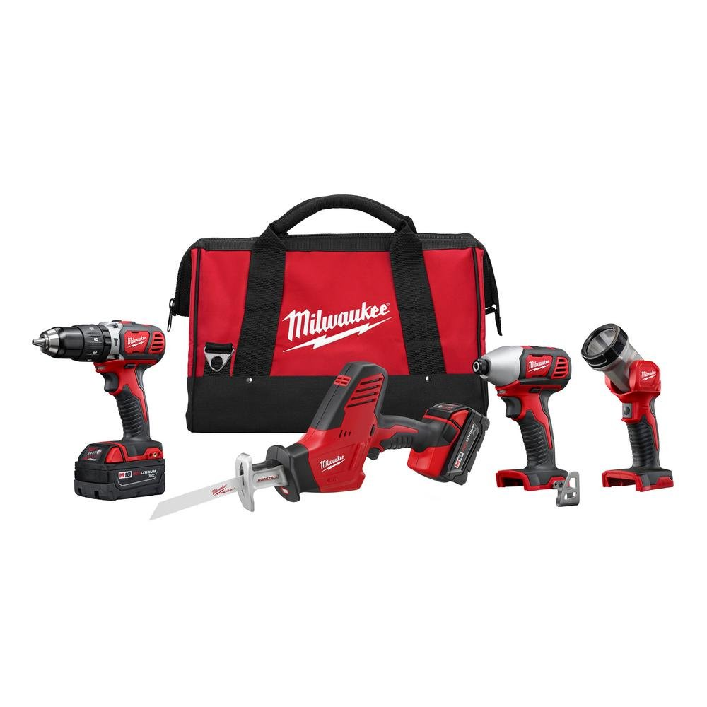Milwaukee 2695-24 M18 18V Cordless Power Tool Combo Kit with Hammer Drill,  Impact Driver, Reciprocating Saw, and Work Light (2 Batteries, Charger, and