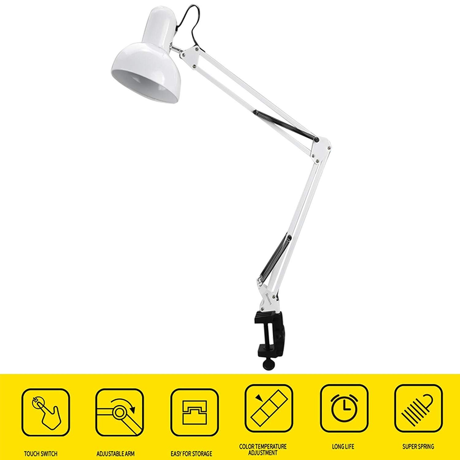 Christmas Gifts New Year Gifts dtemple Adjustable Swing Arm Folding Eyes Care Reading Clamp Table Desk Drafting Lamp Light 40W for Office/Bedrooms