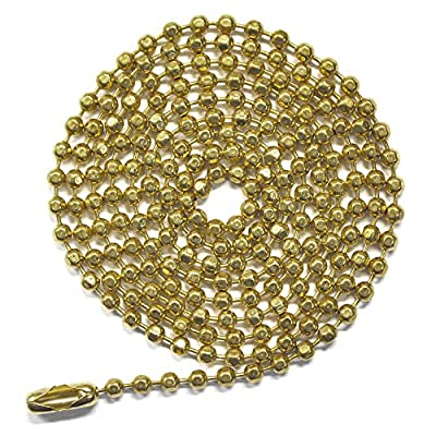 3 Foot Length Ball Chains, #6 Size, Sparkling Faceted Brass Plated Steel with Matching Connectors (3 Pack)