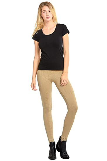 2f4d21ac605a7 Sofra Women's Seamless Cable Knit Fleece Leggings - Beige at Amazon ...