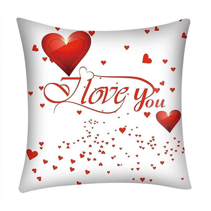 Fundas de Cojines,SHOBDW Regalo de San Valentin Impreso Rojo Lindo sofá romántico Coche decoración del hogar Ideas de la Boda Funda de Almohada(45cmx45cm No ...