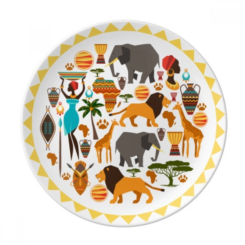 Africa Wild Animals Wildlife African Dessert Plate Decorative Porcelain 8 inch Dinner Home by DIYthinker (Image #1)
