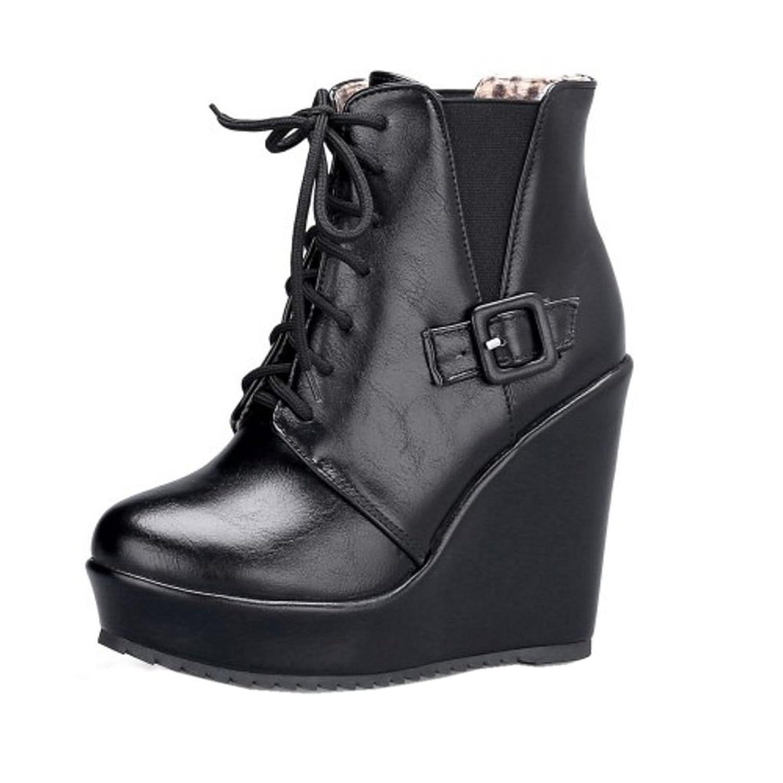 COOLCEPT Damen Freizeit Hohe Keilabsatz Boots Schnurung Stiefeletten Schwarz