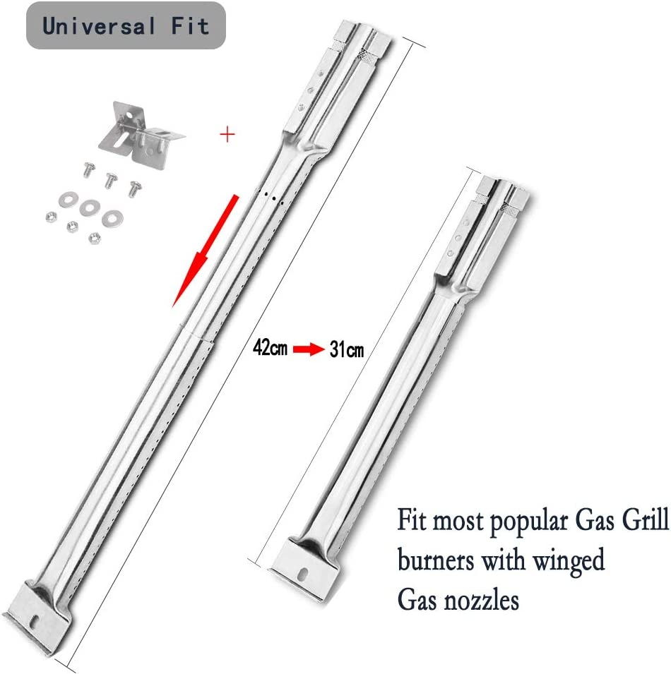 CosmoGrill Char-Broil Extend 30.48CM to 44.45CM 4 GFTIME Universal Replacement Stainless Steel Tube Burners For FirePlus Adjustable Burners Set Fit Most BBQ Gas Grills Fire Mountain
