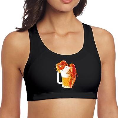 Womens Crawfish Beer Sport Vest Yoga Bra