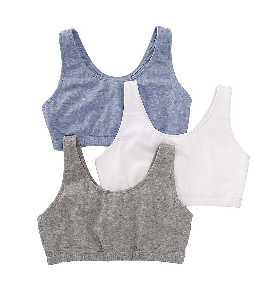 Fruit of the Loom Tank Style Sports Bra - 3 Pack (9012) 34/Grey/White/Blue