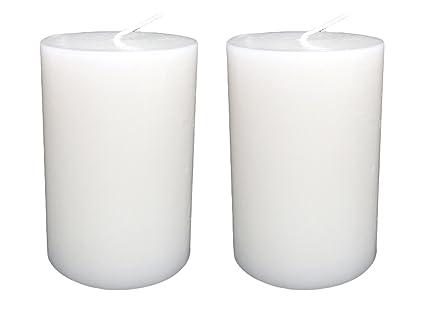 s/ólido color tama/ño 7/x 4,3/cm, Blanco, Pack de 6 Collumino/ /Velas