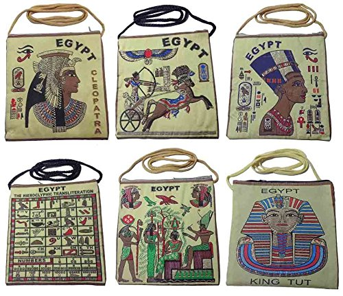 - Wholesale Assorted Lot 4 Double Sided Zipper Tote Shoulder Bag Purse Handbag Egyptian Egypt Ancient Pharaohs Pharaoh King Queen Nefertiti Cleopatra Isis Horus Hieroglyphics Cartouch Ramses Ramsis