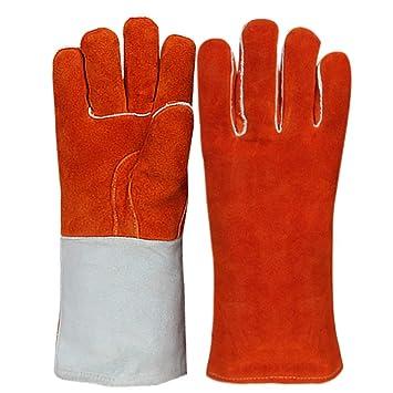 Soldadores Guantelete Guantes de quemador de madera para proteger el brazo Resistente al calor 37 cm (rojo): Amazon.es: Hogar