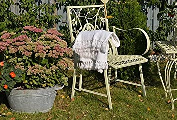 Chaise fauteuil jardin metal fer forge blanc ecru vintage shabby ...