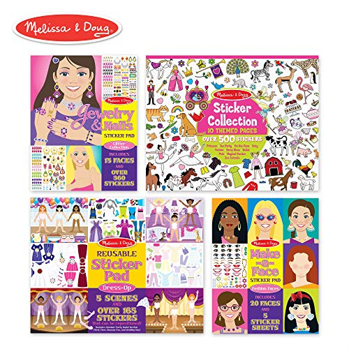 Melissa & Doug Sticker Pads Set: Jewelry and Nails, Dress-Up, Make-a-Face, Favorite Themes - 1225+ Stickers