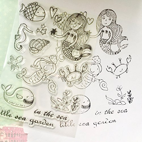 Dabixx Underwater World Transparent Stamps Silicone Stamps Clear Stamps for DIY Scrapbooking Card Cards Making Photo Album Decorative 11cmx16cm//4.33inx6.30in