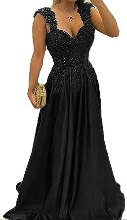 TbDesses Black Cap Sleeve Prom Dresses Applique Evening Dresses Plus Size