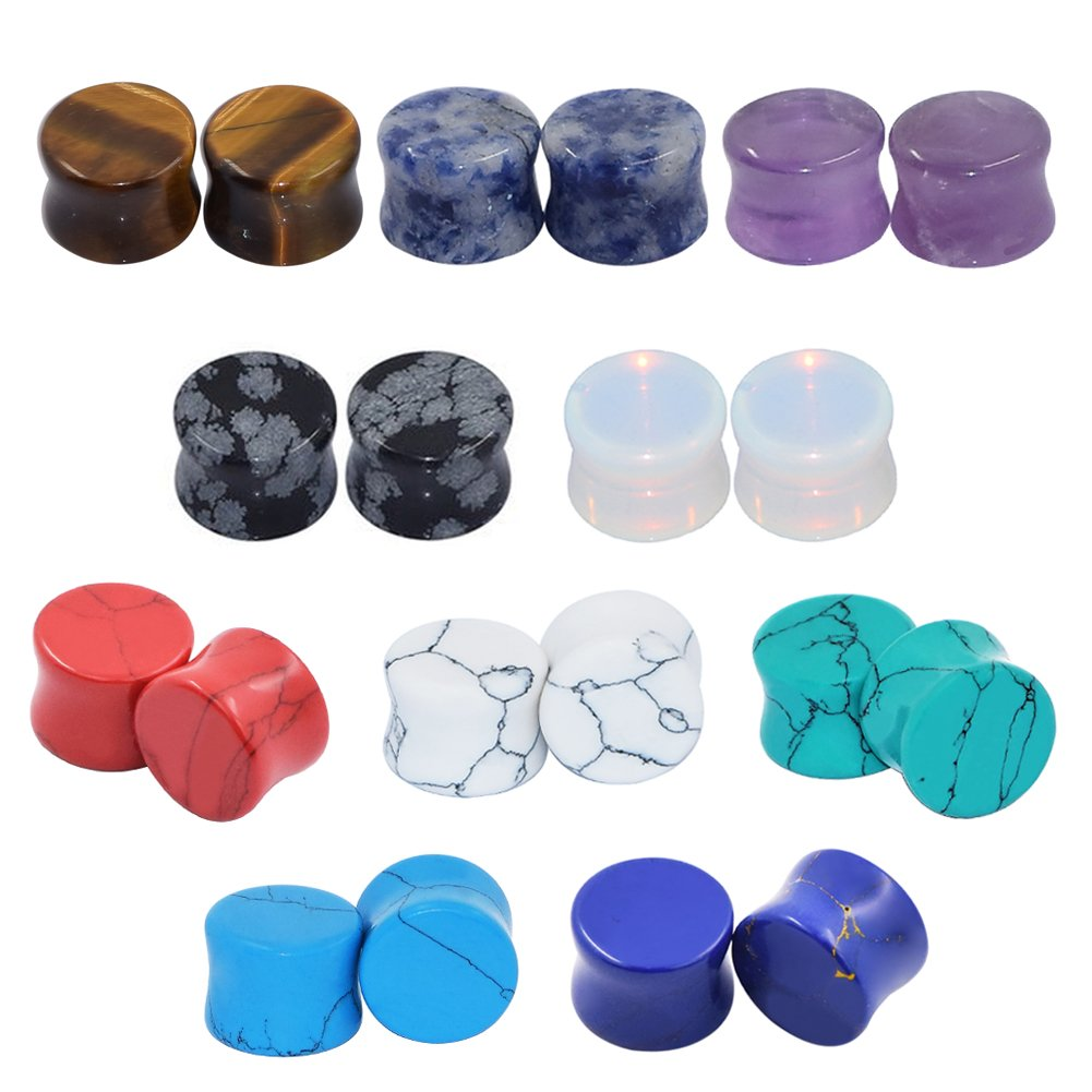 D&M Jewelry 20 Pieces Natural Stone Flared Ear Tunnels Expander Gauges - 10Pairs - 2g-5/8 WLH167-10Pair-10MM