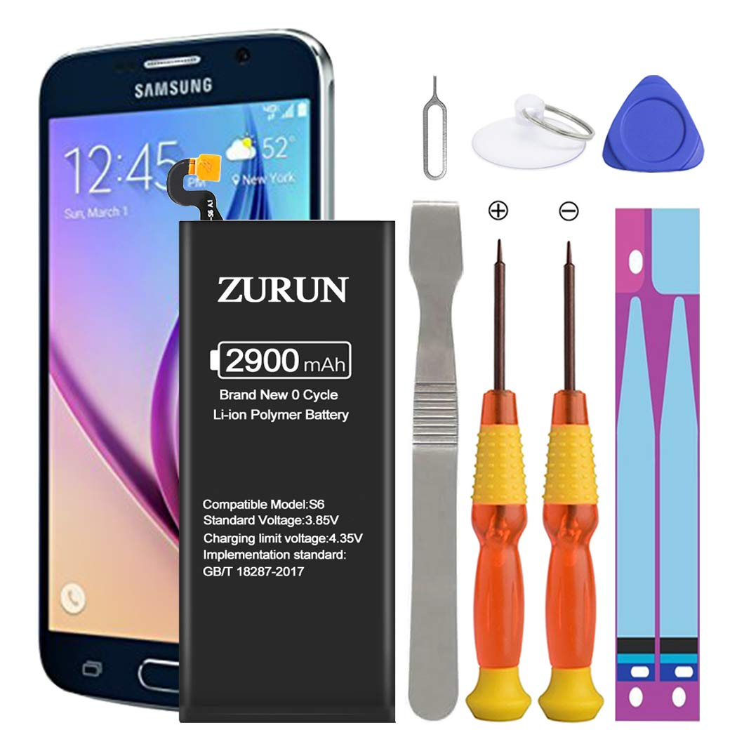 Galaxy S6 Battery ZURUN 2900mAh Li-Polymer Battery EB-BG920ABE Replacement for Samsung Galaxy S6 G920V G920A G920T G920P with Screwdriver Tool Kit | S6 Battery Replacement Kit [2 Year Warranty] by ZURUN