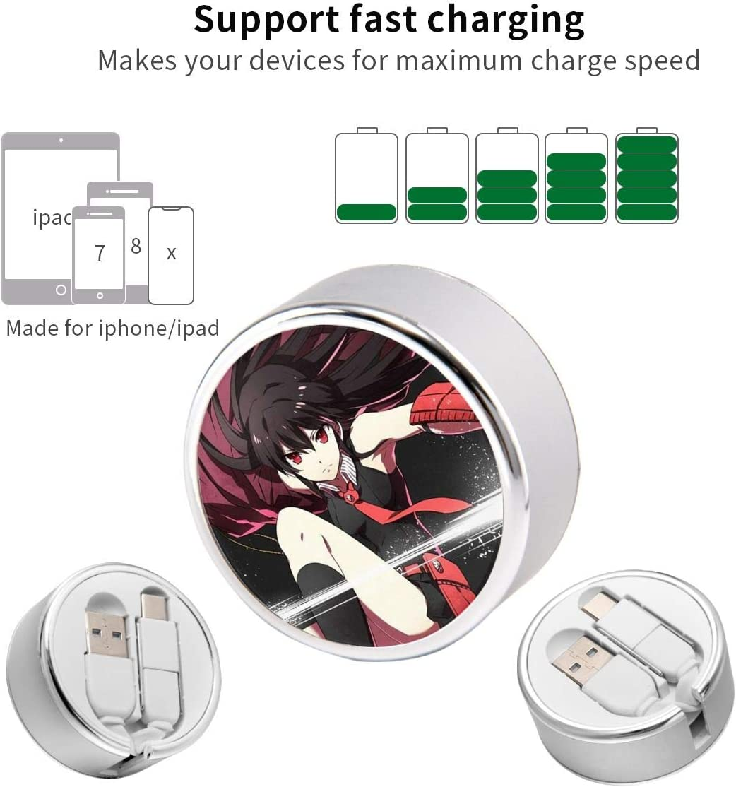 Two-in-One Japan Anime Retractable Charging Cable,5 Adjustable Lengths Mini Data Cable Support Fast Charging and Data Sync Connector with Storage Bag