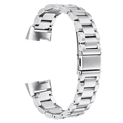 V-MORO Band Compatible with Charge 3/3 SE Bands Women Men Solid Stainless  Steel Fitbit Charge3 Metal Wristband Business Bracelet Strap Replacement  for