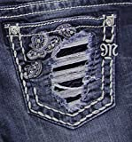 Miss Me Women's Indigo Destructed Slim Jeans Boot Cut Indigo 32