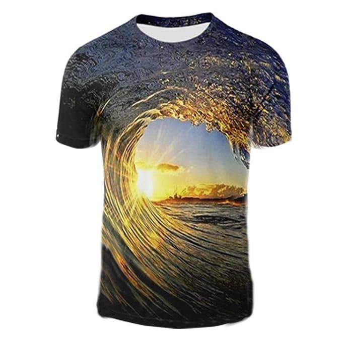 2fa0bb6fa6bc EDTara Men Women 3D Vortex Pattern Printing T-Shirt  Amazon.in ...