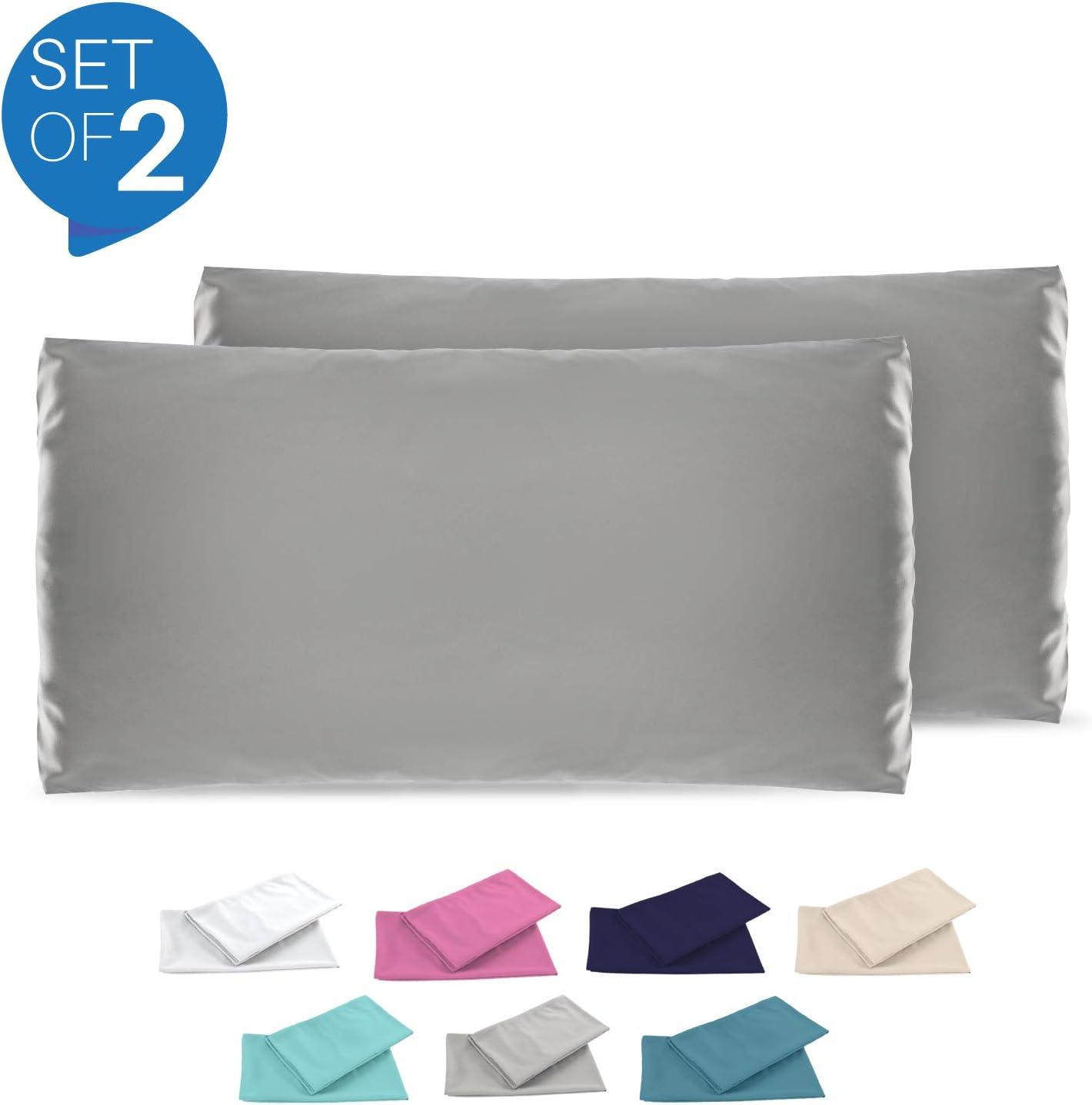 Dreamzie - Set de 2 x Funda de Almohada 50x80 cm, Gris Antracita, Microfibra (100% Poliéster) - Fundas de Almohadas Hipoalergénica - Fundas de Cojines de Calidad con una Suavidad Incomparable