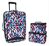 Ever Moda 3-Piece Carry On Luggage Set with Wheels for Travels, Feather Multicolor