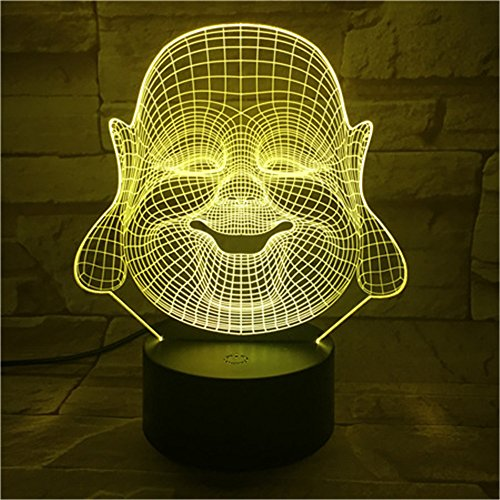 Faith Maitreya 3D night light,7 colors 3D night light,Acrylic panel Remote or touch strong 3D vision lights,LED creative ambient light, Home decoration Gift for kids,USB powered ( Color : Remote ) by MM-maker