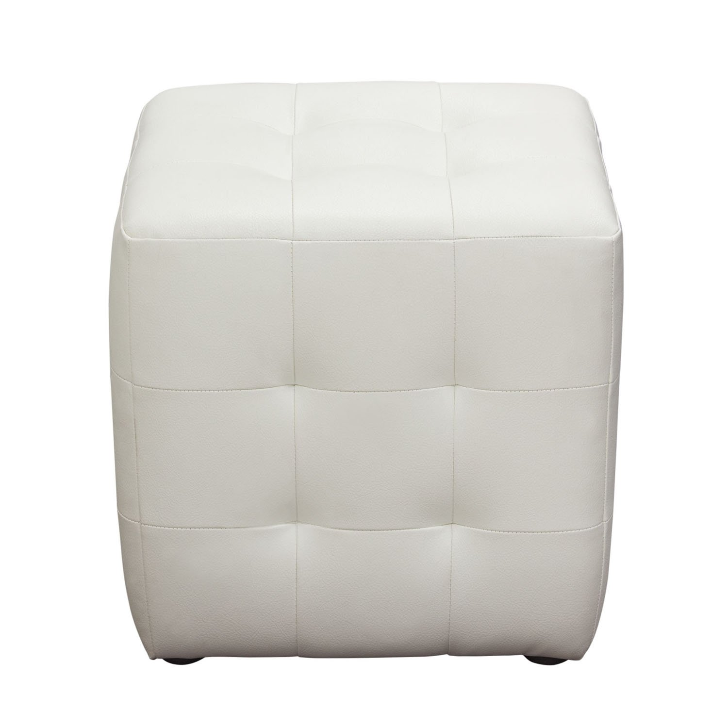Awesome Diamond Sofa Zen Collection Bonded Leather Tufted Cube Accent Ottoman White Creativecarmelina Interior Chair Design Creativecarmelinacom