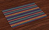 Ambesonne Tribal Place Mats Set of 4, Striped Retro Aztec Pattern with Rich Mexican Ethnic Color Folkloric Print, Washable Fabric Placemats for Dining Room Kitchen Table Decor, Teal Plum and Orange