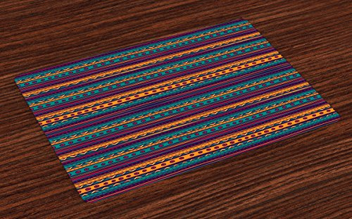 - Ambesonne Tribal Place Mats Set of 4, Striped Retro Aztec Pattern with Rich Mexican Ethnic Color Folkloric Print, Washable Fabric Placemats for Dining Room Kitchen Table Decor, Teal Plum and Orange