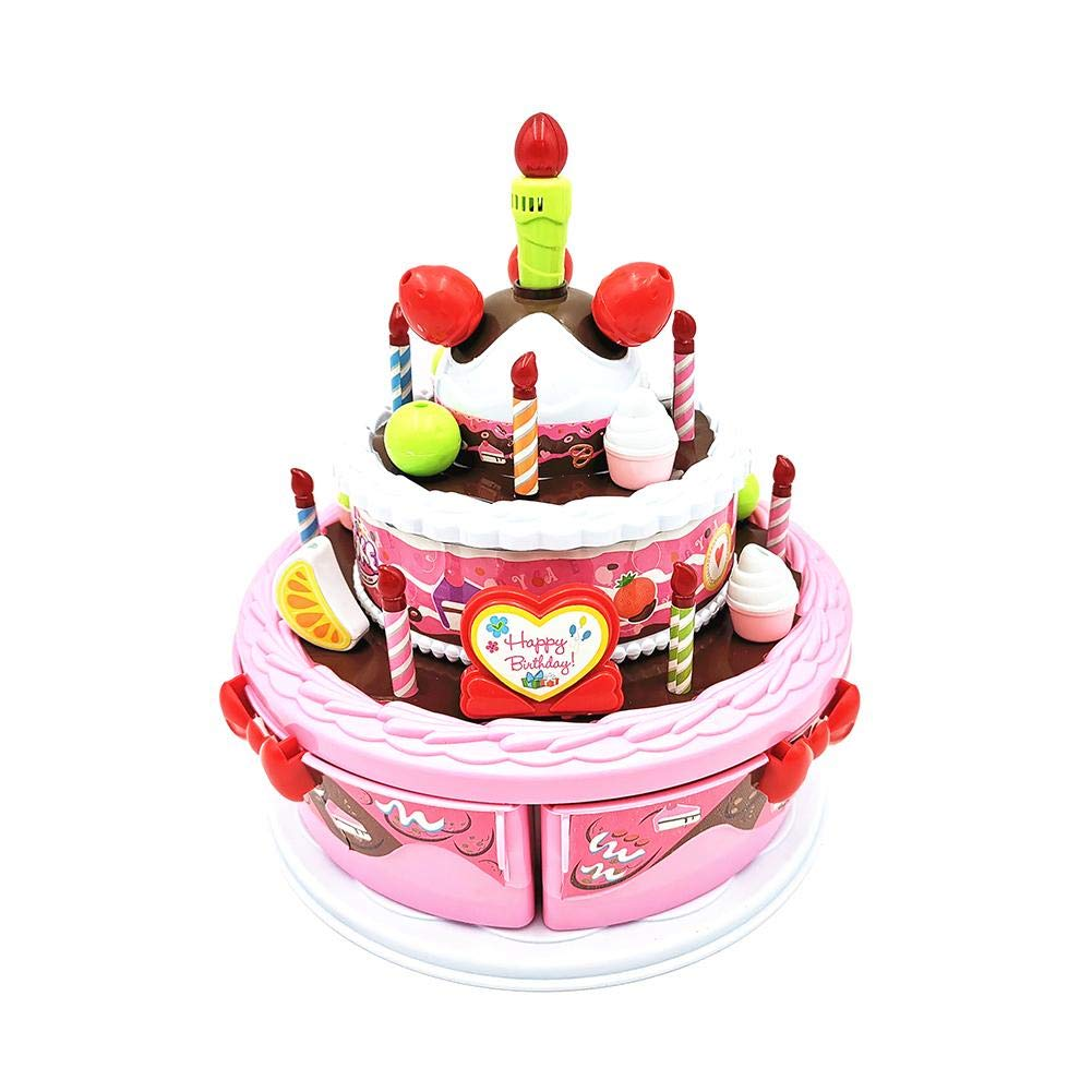 Amazon Big Time Play Birthday Cake Childrens Day Gift Food Toy Set Electric Music DIY Cutting With Candles For Children