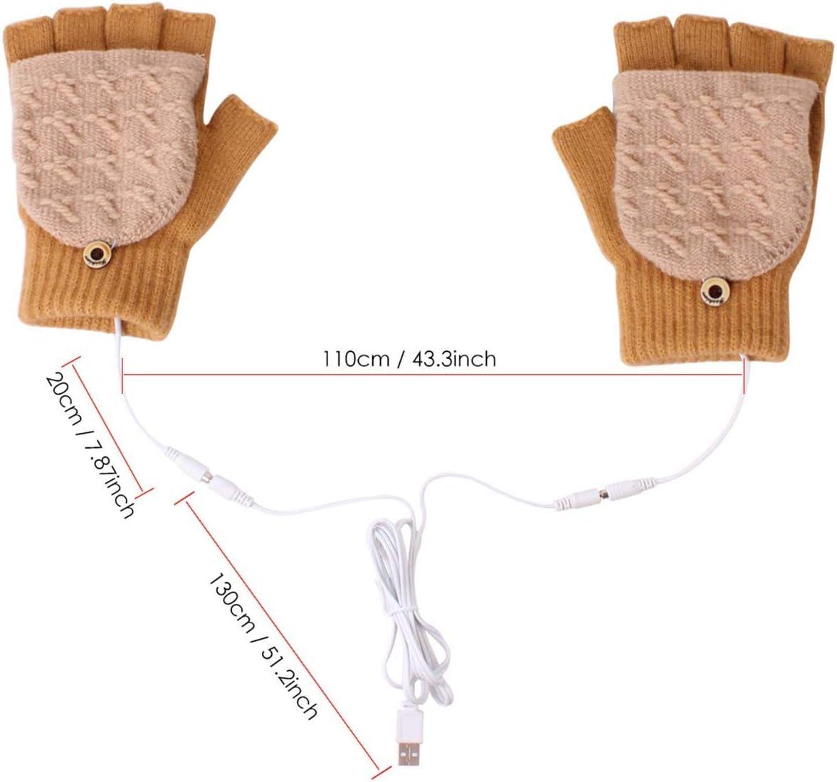 USB Heated Gloves Winter Knitted Warm Gloves Full Half Finger Heated Gloves Mitten Best Winter Gift Choice for Women