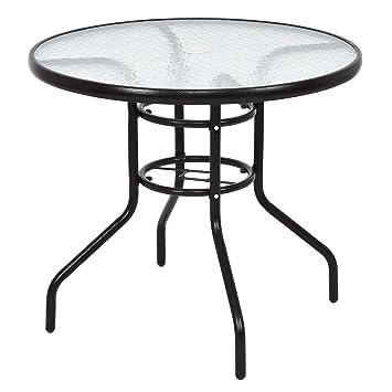 Tisch Rund Garten.Amazon De Tangkula 80 Cm Terrasse Tisch Rund Gehärtetem