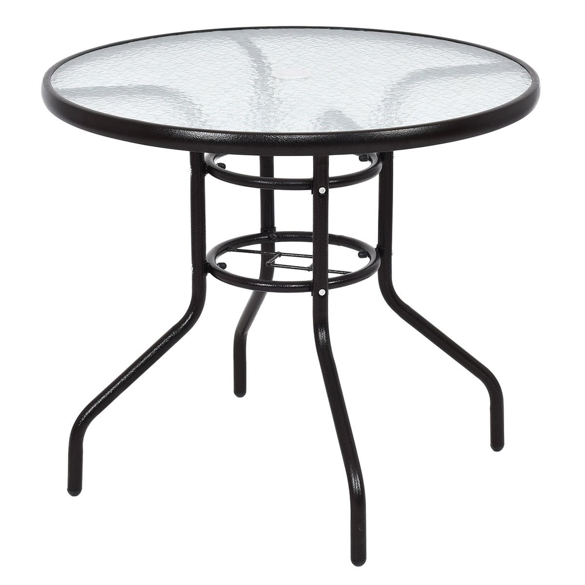 TANGKULA Patio Table 31.5'' Tempered Glass Top Metal Frame Outdoor Garden Poolside Balcony Dining Bistro Table (Round)