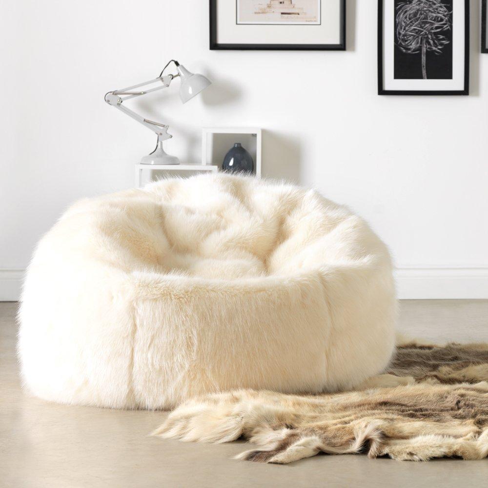 Chaise Pouf de luxe grande taille en Fausse Fourrure douce de ICON - Pouf luxueux énorme pour adulte en Fourrure -