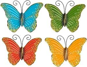 Metal Butterfly Wall Art use as Outdoor Garden Butterfly Wall Art, Set of 4 Metallic Wall Art Outdoor/Indoor Garden Butterflies and Wall Décor Sculptures (Metallic)