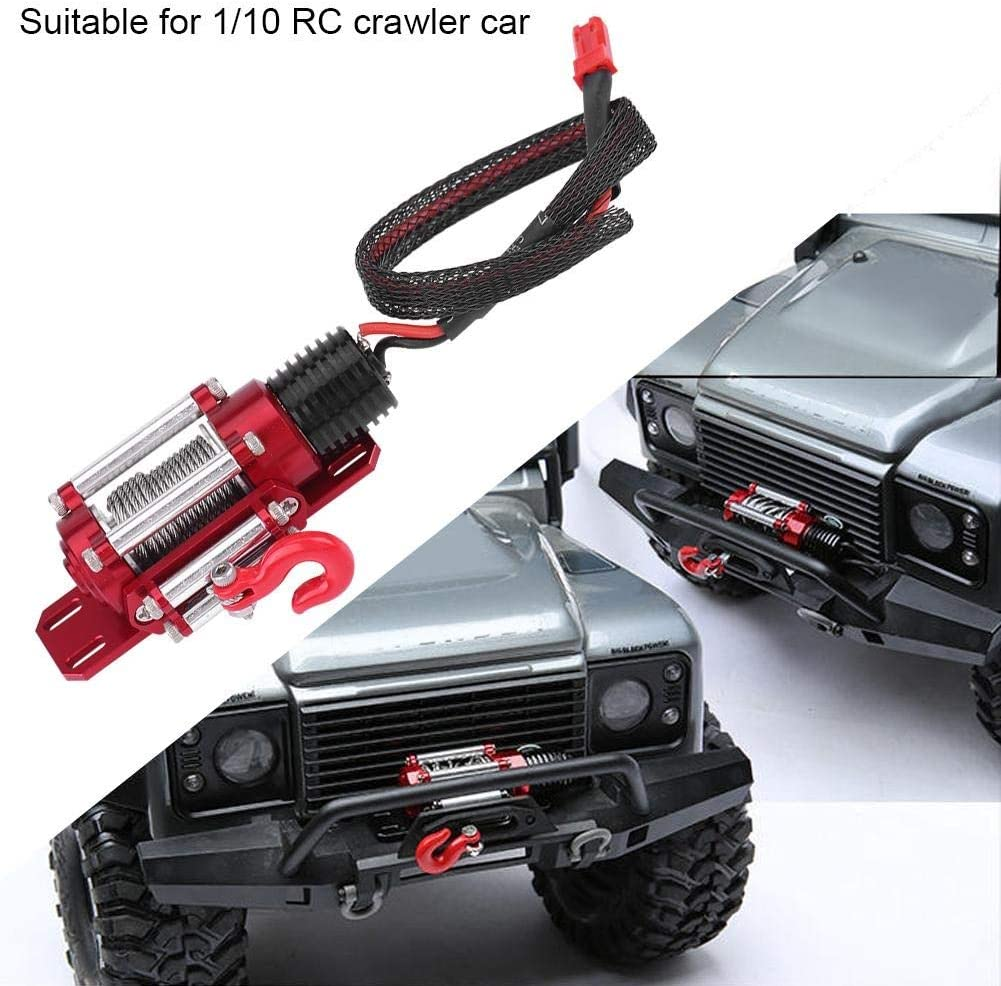 RC Winch-1//10 Scale RC Model Vehicle Crawler Car Accessory Metal Winch With Remote Controller