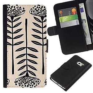 All Phone Most Case / Oferta Especial Cáscara Funda de cuero Monedero Cubierta de proteccion Caso / Wallet Case for Samsung Galaxy S6 EDGE // Art Blossom Black White Simplistic