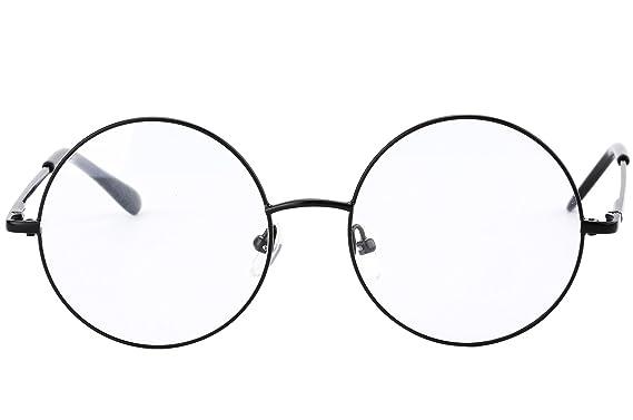 agstum retro round prescription ready metal eyeglass frame medium size black
