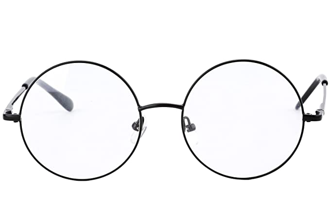 c04493882c7 Agstum Retro Round Prescription ready Metal Eyeglass Frame (Medium Size)  (Black)