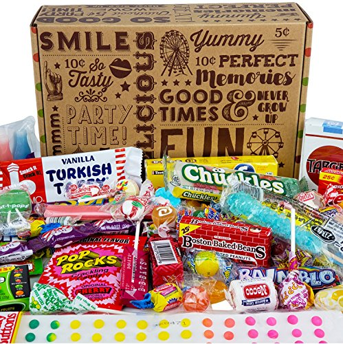 VINTAGE CANDY CO. HAPPY BIRTHDAY NOSTALGIA FUN CANDY CARE PACKAGE - Retro Candies Assortment Variety - GAG GIFT BASKET - PERFECT For Adults, College Students, Military, Teens, Man, Woman, Boy or Girl (Retro Candy Box)