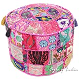 Eyes of India 17 X 12 Small Pink Patchwork Round Ottoman Pouf Pouffe Cover Floor Seating Bohemian Boho Indian