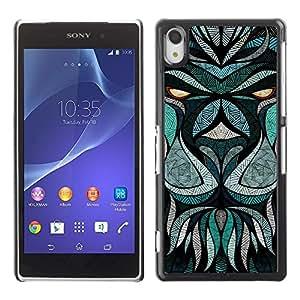 Be Good Phone Accessory // Dura Cáscara cubierta Protectora Caso Carcasa Funda de Protección para Sony Xperia Z2 D6502 D6503 D6543 L50t L50u // Teal Abstract Animal Eyes Cartoon