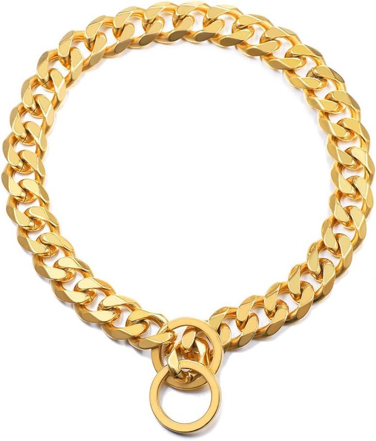 PROSTEEL Collar Resistente de Perro Cadena de Acero Inoxidable 15mm de Ancho Cadena de Seguridad, Dorado 61cm