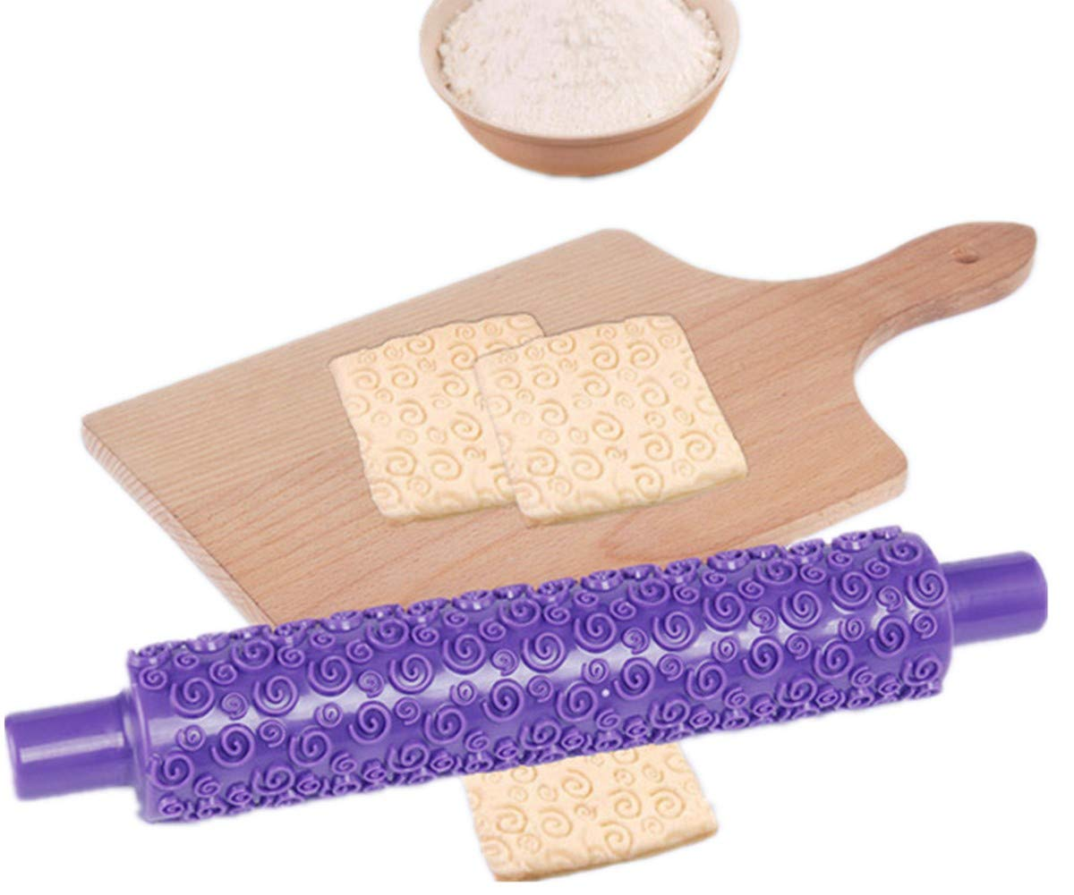 Icing Clay 4 Pack Cake Decorating Embossed Rolling Pins,Textured NonStick Designs and Patterned Best Kit Ideal for Fondant Dough Devbor Pastry