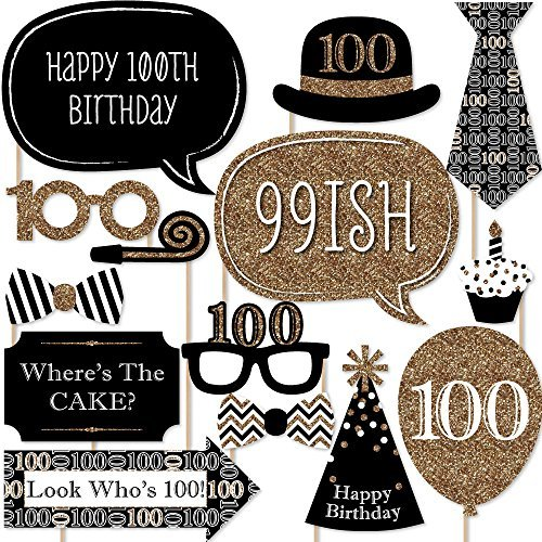 Big Dot of Happiness Adult 100th Birthday - Gold - Birthday Party Photo Booth Props Kit - 20 Count]()