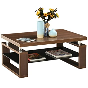 glass tables for living room. Yaheetech Living Room Rectangular Wood Top Coffee Tables  Chrome Finish Legs with Glass Storage Shelf Amazon com