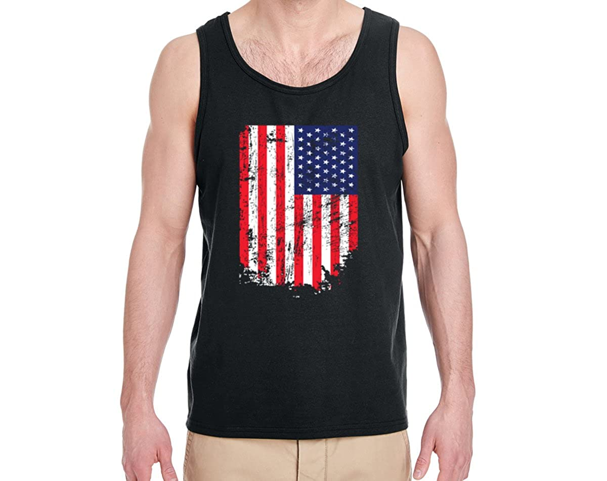 Mens American Pride Fashion Graphic Tank Top Wild Bobby American Flag Distressed